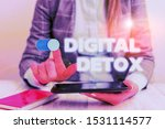 Small photo of Conceptual hand writing showing Digital Detox. Business photo showcasing Free of Electronic Devices Disconnect to Reconnect Unplugged Business concept with communication mobile phone.