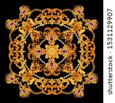 Design Of Silk Scarf With Ruby...