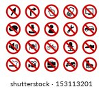 forbidden sign icon set | Shutterstock .eps vector #153113201