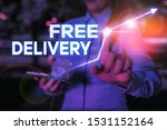 Conceptual hand writing showing Free Delivery. Business photo text Shipping Package Cargo Courier Distribution Center Fragile.