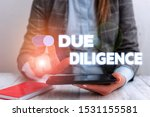 Small photo of Conceptual hand writing showing Due Diligence. Business photo showcasing Comprehensive Appraisal Voluntary Investigation Audit Business concept with communication mobile phone.