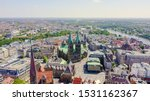 Bremen, Germany. The historic part of Bremen, the old town. Bremen Cathedral ( St. Petri Dom Bremen ). View in flight, Aerial View
