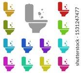 toilet trash multi color icon....