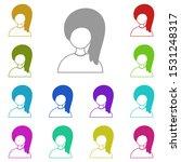 hair girl multi color icon....