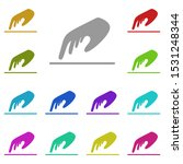 touching  hand multi color icon....