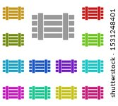 fence multi color icon. simple...