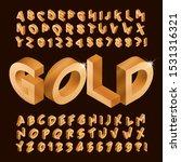 gold alphabet font. isometric... | Shutterstock .eps vector #1531316321