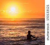 surfer at sunrise   Shutterstock . vector #153133121