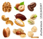 nuts and beans. walnut ... | Shutterstock .eps vector #1531345397