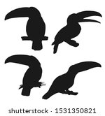 toucan black silhouettes with... | Shutterstock .eps vector #1531350821