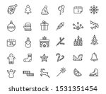 Set Of Linear Christmas Icons....
