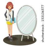 illustration of a schoolgirl... | Shutterstock .eps vector #153136577