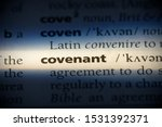 Small photo of covenant word in a dictionary. covenant concept, definition.