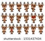 big set of funny reindeer in... | Shutterstock .eps vector #1531437434