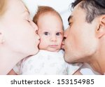 portrait of a happy family  | Shutterstock . vector #153154985