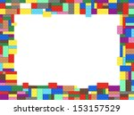 toy bricks picture frame with... | Shutterstock . vector #153157529