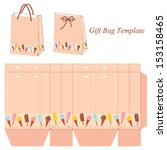gift bag template with stripes... | Shutterstock .eps vector #153158465