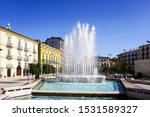Fountain in the piazza of Avellino. Italy.