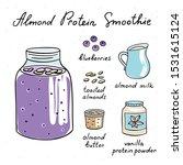 almond protein smoothie hand... | Shutterstock .eps vector #1531615124
