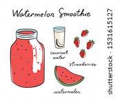 watermelon smoothie vector... | Shutterstock .eps vector #1531615127
