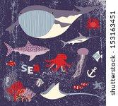 sea animals set | Shutterstock .eps vector #153163451