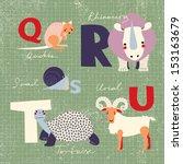 animals alphabet. q  r  s  t  u ... | Shutterstock .eps vector #153163679