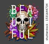 skull flowers illustration tee...   Shutterstock .eps vector #1531644734