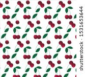 pattern ripe cherry with leaves ... | Shutterstock .eps vector #1531653644