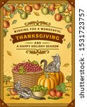 vintage thanksgiving greeting... | Shutterstock . vector #1531723757