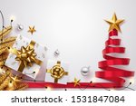 red ribbon roll to made... | Shutterstock .eps vector #1531847084