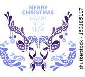 background with christmas deer  | Shutterstock .eps vector #153185117