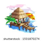 Tropical Hut With Thatched Roof....