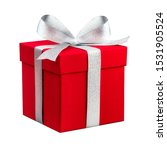 Red Present Box With Silver...