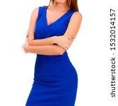pretty woman in blue dress... | Shutterstock . vector #1532014157
