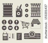 vector supermarket icon set