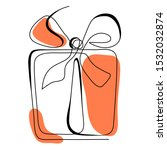 continuous line gift box.... | Shutterstock .eps vector #1532032874