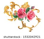 watercolor golden baroque... | Shutterstock . vector #1532042921