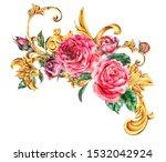 watercolor golden baroque... | Shutterstock . vector #1532042924