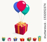 balloon with gift box. holiday... | Shutterstock .eps vector #1532052374
