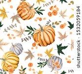 Autumn Orange Pumpkins  Flowers ...