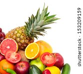 fruits and vegetables isolated... | Shutterstock . vector #153209159