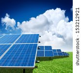 solar panels with the sunny sky | Shutterstock . vector #153212921