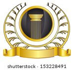 greece column  ribbon and gold... | Shutterstock . vector #153228491