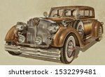 retro car isolated on white... | Shutterstock . vector #1532299481