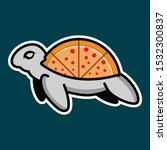 pizza turtle logo vector with...