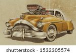 vintage hot rod car isolated on ... | Shutterstock . vector #1532305574