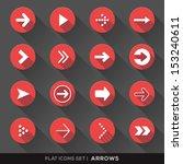 set of arrow sign flat icons...