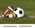 sports balls on the field with... | Shutterstock . vector #153242144