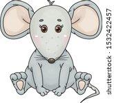 vector cute   sitting  grey ... | Shutterstock .eps vector #1532422457