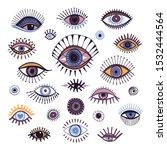 eyes set hand drawn  doodle...   Shutterstock .eps vector #1532444564